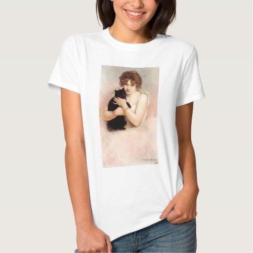 Ballerina Holding Black Cat, Pierre Carrier-Belleu T-shirt
