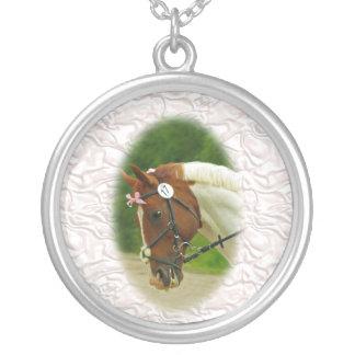 Ballerina Horse Round Pendant Necklace