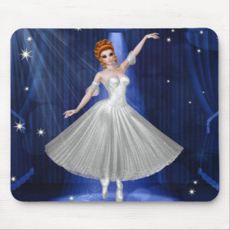 Ballerina in a White Gown on a Blue Stage Mouse Pad