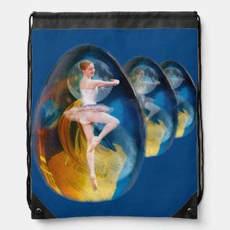Ballerina in Alien Galaxy Drawstring Bag