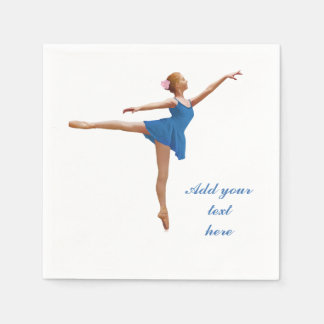 Ballerina in Arabesque Customizable Text Standard Cocktail Napkin