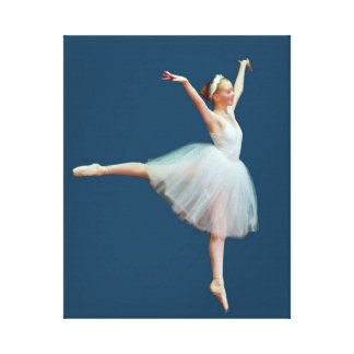 Ballerina in Arabesque on Blue Canvas Print