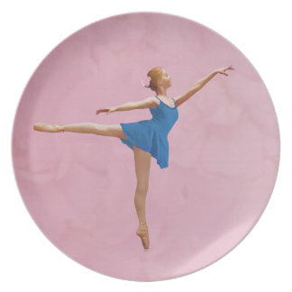 Ballerina in Arabesque Pose Customizable Plate