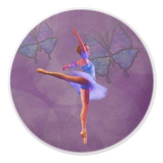 Ballerina in Arabesque Position in Purple and Blue Ceramic Knob