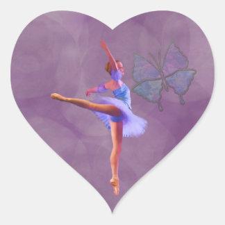 Ballerina in Arabesque Position in Purple and Blue Heart Sticker