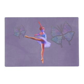Ballerina in Arabesque Position in Purple and Blue Placemat