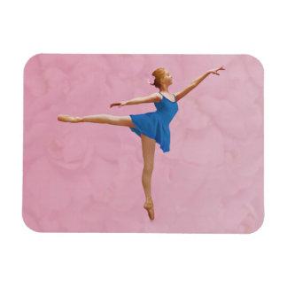 Ballerina in Arabesque Position in Purple and Blue Rectangular Photo Magnet
