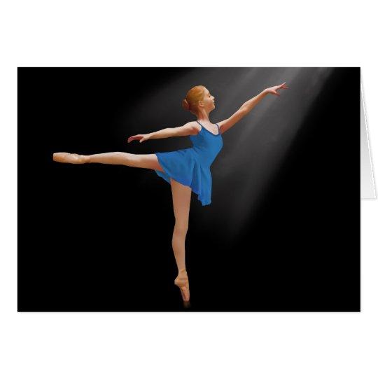 Ballerina in Arabesque Position on Black Note Card
