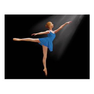 Ballerina in Arabesque Position on Black Postcard