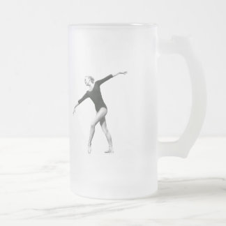 Ballerina in Black and White Frosted Glass Beer Mug