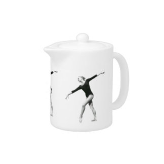 Ballerina in Black and White Teapot