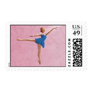 Ballerina in Blue in Arabesque Position Postage