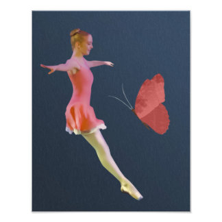 Ballerina in Chestnut Rose with Butterfly Photo Print