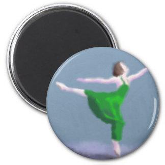 Ballerina in Green Art Magnet