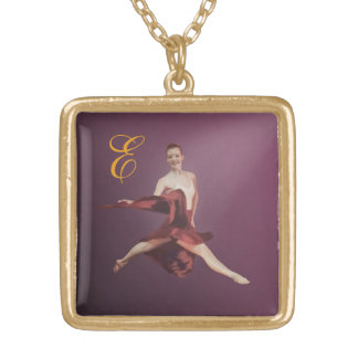 Ballerina in Jete Position with Monogram Pendant