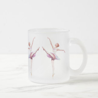 Ballerina in Pink and Lavender, Monogram Frosted Glass Coffee Mug