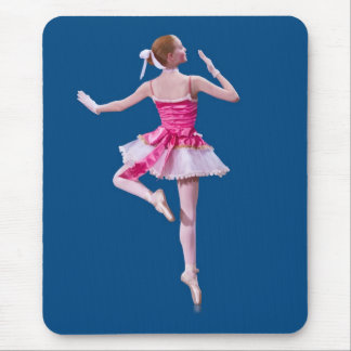 Ballerina in Pink and White on Blue Mouse Pad