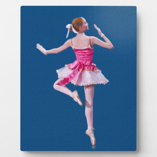 Ballerina in Pink and White on Blue Plaque