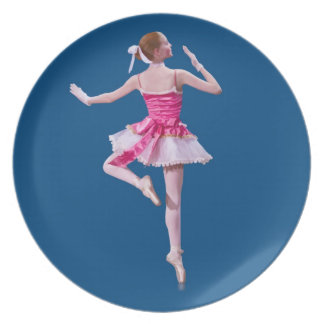 Ballerina in Pink and White on Blue Plate