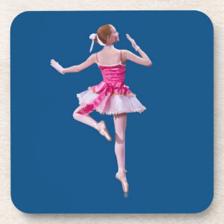 Ballerina in Pink and White on Blue Set of Coaster