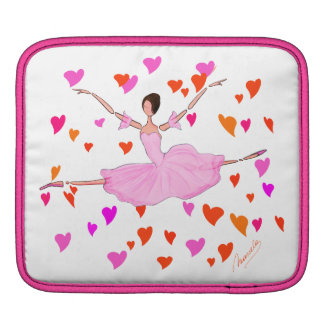Ballerina in Pink Tutu Dress , Red and Pink Hearts iPad Sleeve