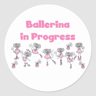 Ballerina in Progress T-shirts and Gifts Classic Round Sticker
