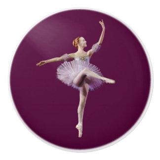 Ballerina in Purple and White Ceramic Knob
