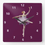 Ballerina in Purple and White Customizable Square Wallclock