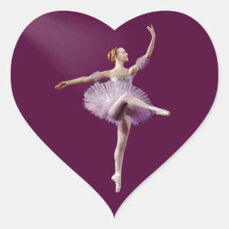 Ballerina in Purple and White Customizable Heart Sticker
