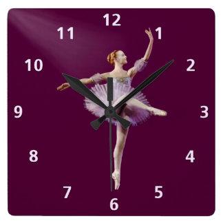 Ballerina in Purple and White Customizable Square Wall Clock