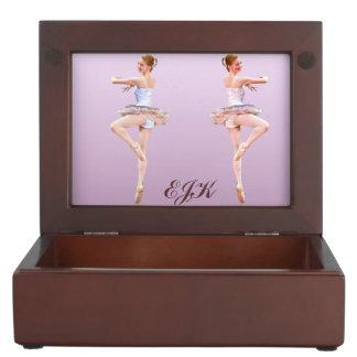Ballerina in Purple and White, Monogram Keepsake Box