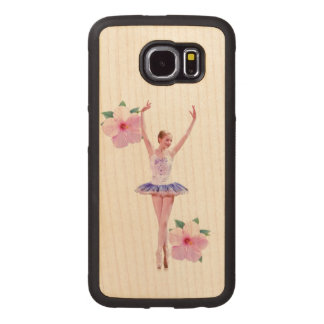Ballerina in Purple and White with Flowers Wood Phone Case