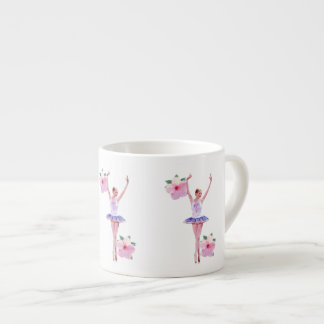Ballerina in Purple and White  with Hibiscus Espresso Cup