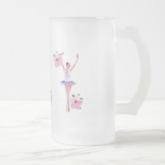 Ballerina in Purple and White  with Hibiscus Frosted Glass Beer Mug