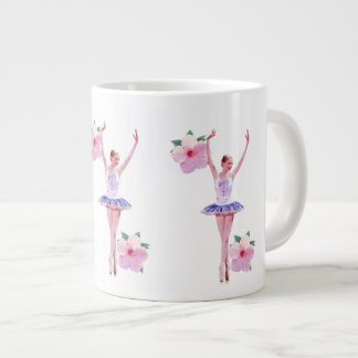 Ballerina in Purple and White  with Hibiscus Large Coffee Mug