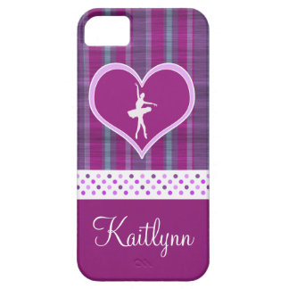 Ballerina in Purple Heart with Vertical Stripes iPhone 5 Covers