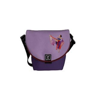 Ballerina in Red, Blue, and Lavender Messenger Bag