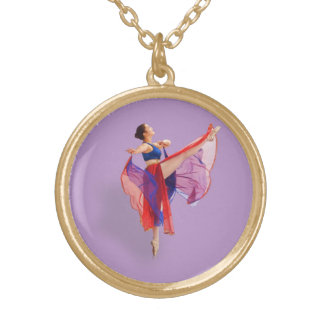 Ballerina in Red, Blue, and Lavender Pendant