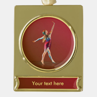 Ballerina in Red Gold Plated Banner Ornament