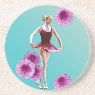 Ballerina in Red with Chrysanthemums, Monogram Coaster