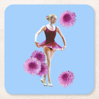 Ballerina in Red with Chrysanthemums Square Paper Coaster