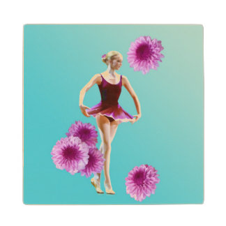 Ballerina in Red with Chrysanthemums Wooden Coaster