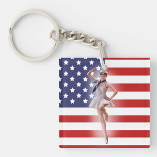 Ballerina in Sailor Costume with US Flag Keychain