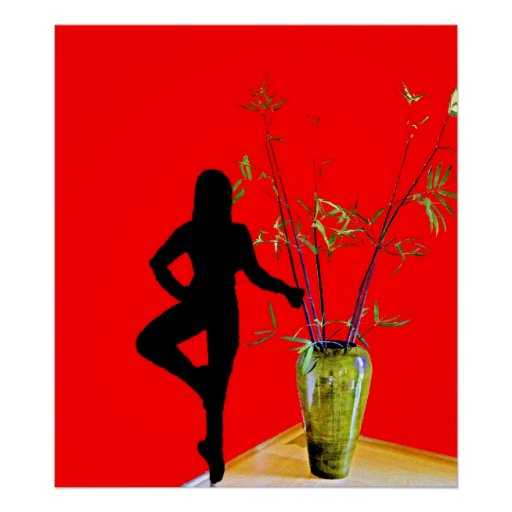 Ballerina in silhouette and vase poster
