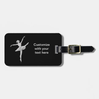 Ballerina in Silver and Black Customizable Tag For Bags