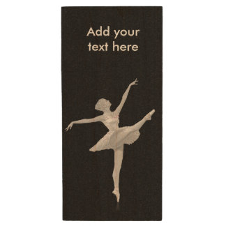 Ballerina in Silver and Black, Customizable Text Wood USB Flash Drive
