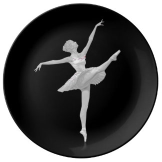 Ballerina in Silver and Black Porcelain Plate
