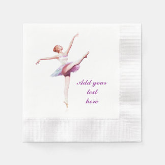 Ballerina in White and Pink, Customizable Text Coined Cocktail Napkin