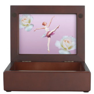 Ballerina in White and Pink, White Roses Memory Box