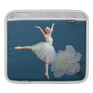Ballerina in White with Peony Flower iPad Sleeve